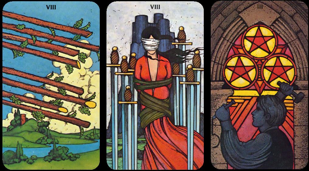 Morgan Greer Tarot Eight of Wands, Eight of Swords, Three of Pentacles