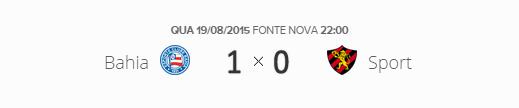 O placar de Bahia 1x0 Sport pela segunda fase da Copa Sul-Americana 2015.