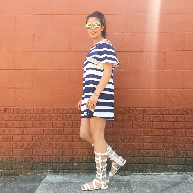 portland blogger, blue and white striped dress, white gladiator sandals, ray bans, the ptown, affordable clothing, thirty bucks,
