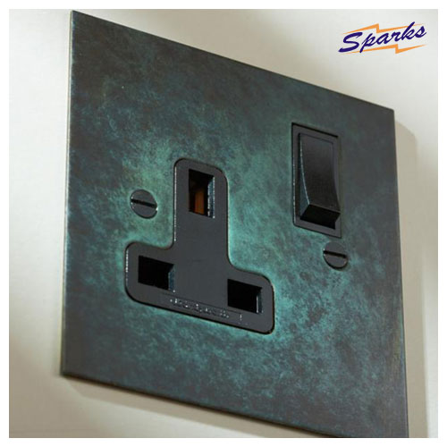 13A Single Socket in Verdigris