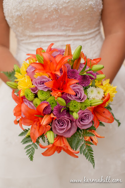 Maui bridal bouquet with purple, orange and green