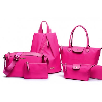 AA FASHION BAG ( 6 IN 1 SET) (NYLON ROSE RED)
