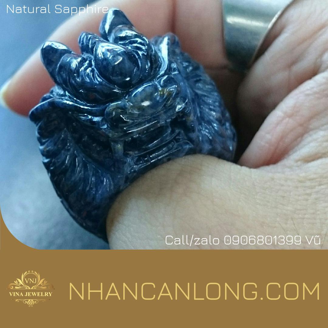 Nhẫn Càn Long Sapphire chạm đầu Rồng