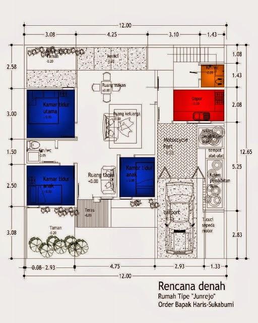 Sktesa rencana denah rumah tipe Junrejo 2014