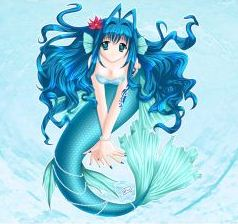 Dibujo de una sirena de una serie anime