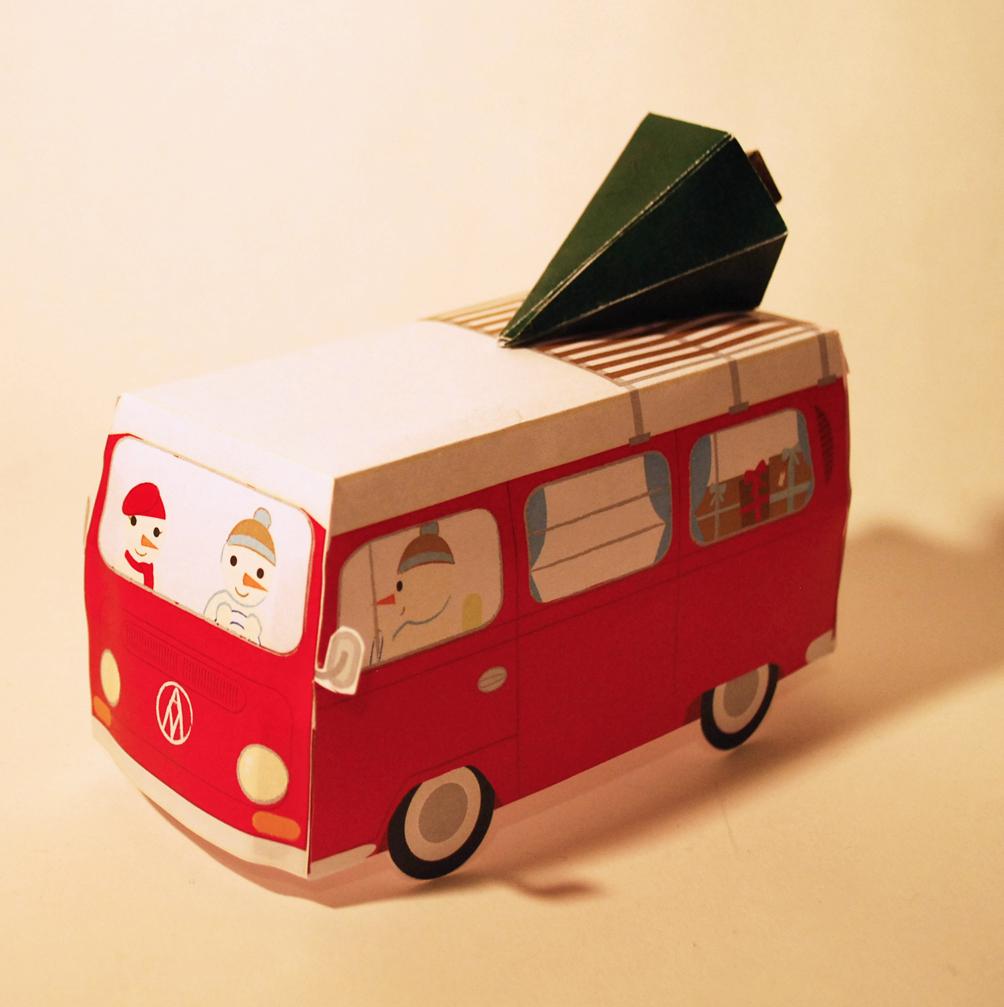 Christmas Camper Van Paper Toy