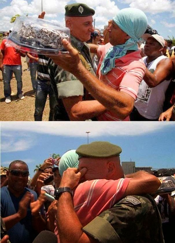 35 moments of violence that brought out incredible human compassion - protesters in brazil bring cake to an officer for his birthday