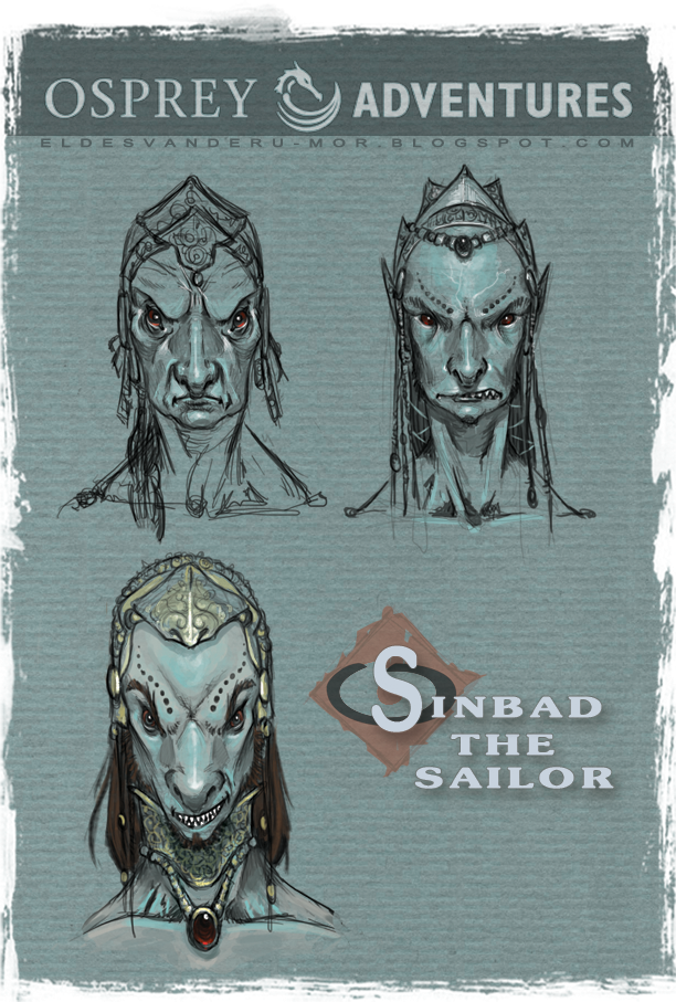Concept art or sketches of a Winged man's face (demon) of the seventh voyage of Sinbad illustrated by RU-MOR for OSPREY Publishing