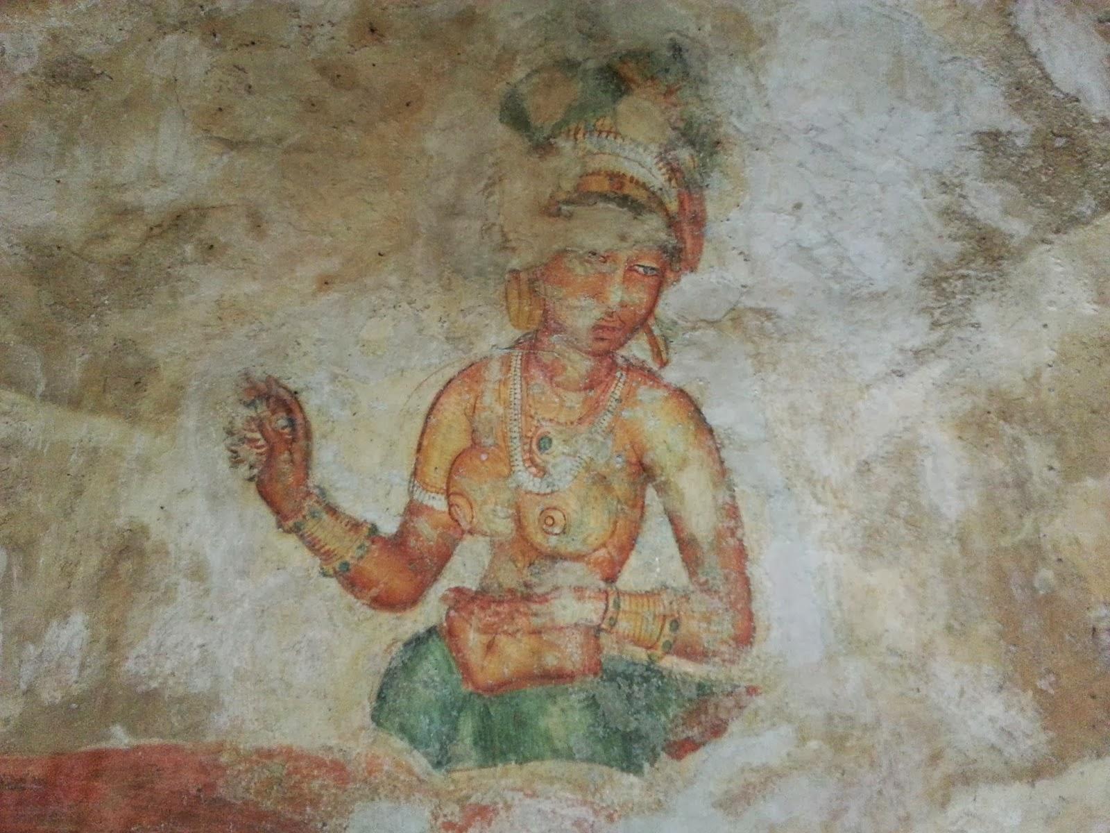 Древняя ланкийская девушка выглядит совершенно, идеальные формы, красивое тело, фрески, Сигирия, Шри-Ланка