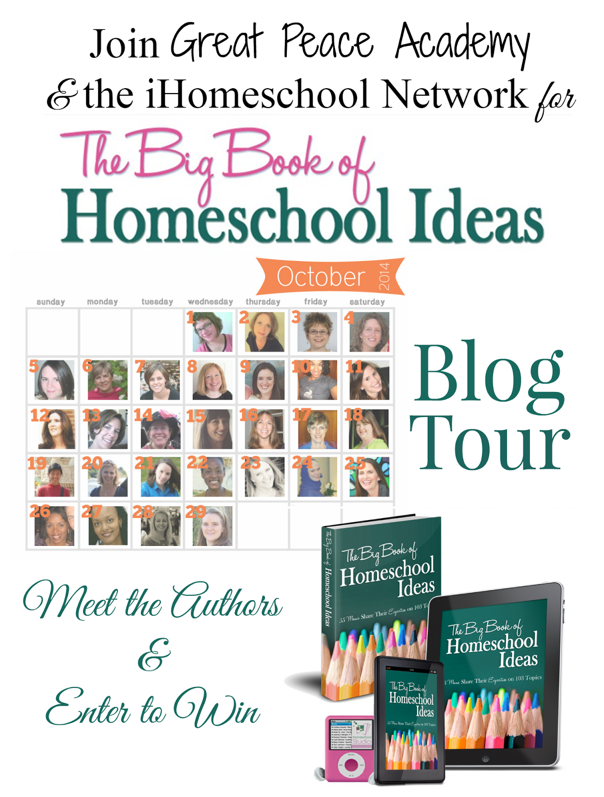Coming soon the iHomeschool Network's Big Book of Homeschool Ideas Blog Tour, get more information at Great Peace Academy