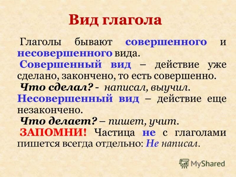 вид в современном русском языке