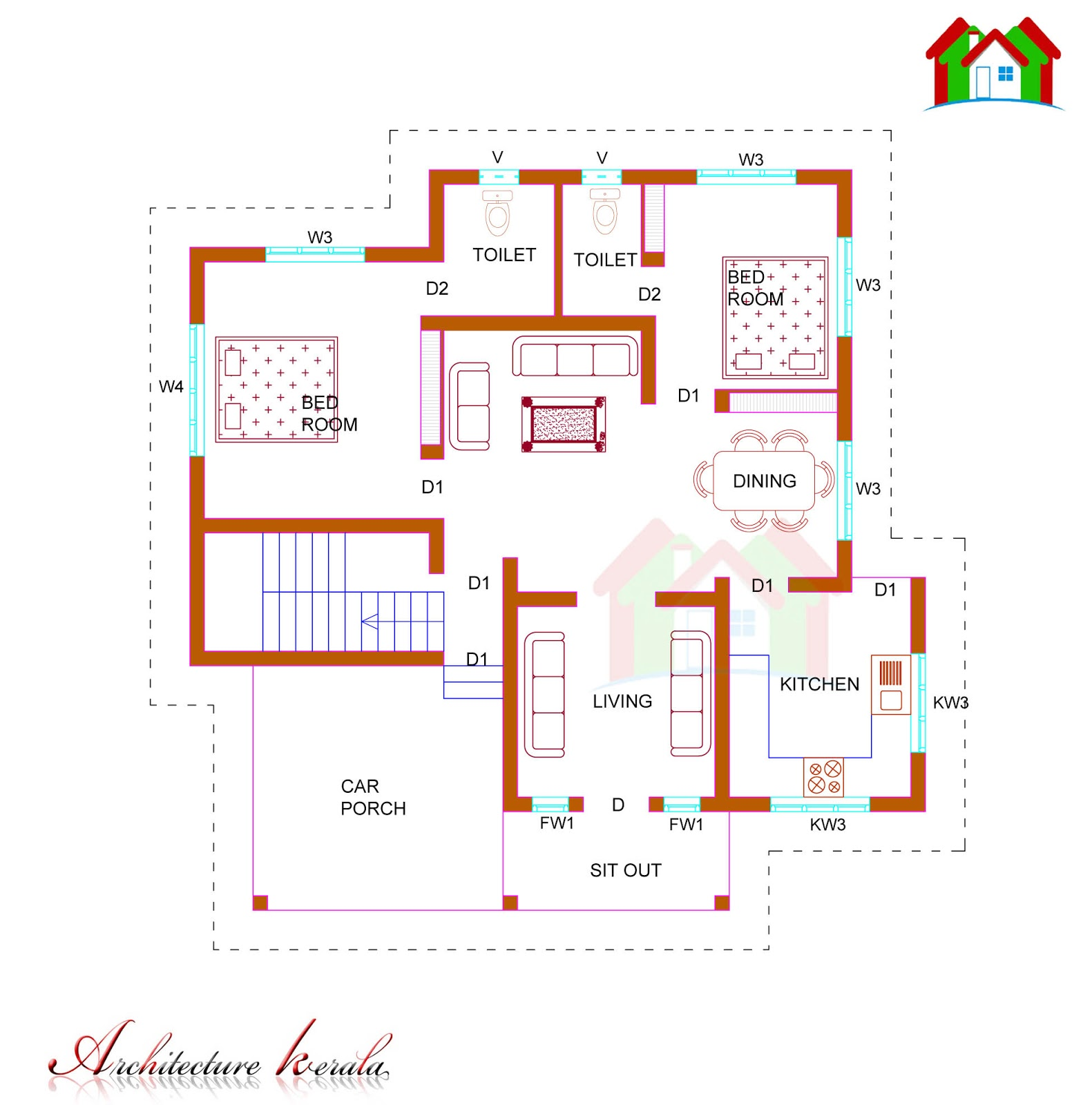 1100 SQUARE FEET SINGLE STORIED HOUSE PLAN ARCHITECTURE KERALA