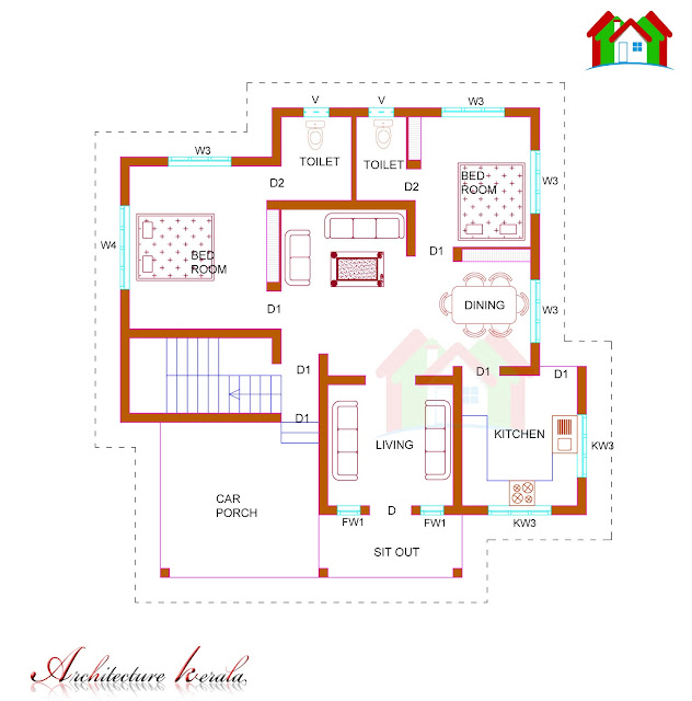 1100 SQUARE FEET SINGLE STORIED HOUSE PLAN. 1100 SQUARE FEET HOUSE PLAN  WITH STAIRCASE ROOM