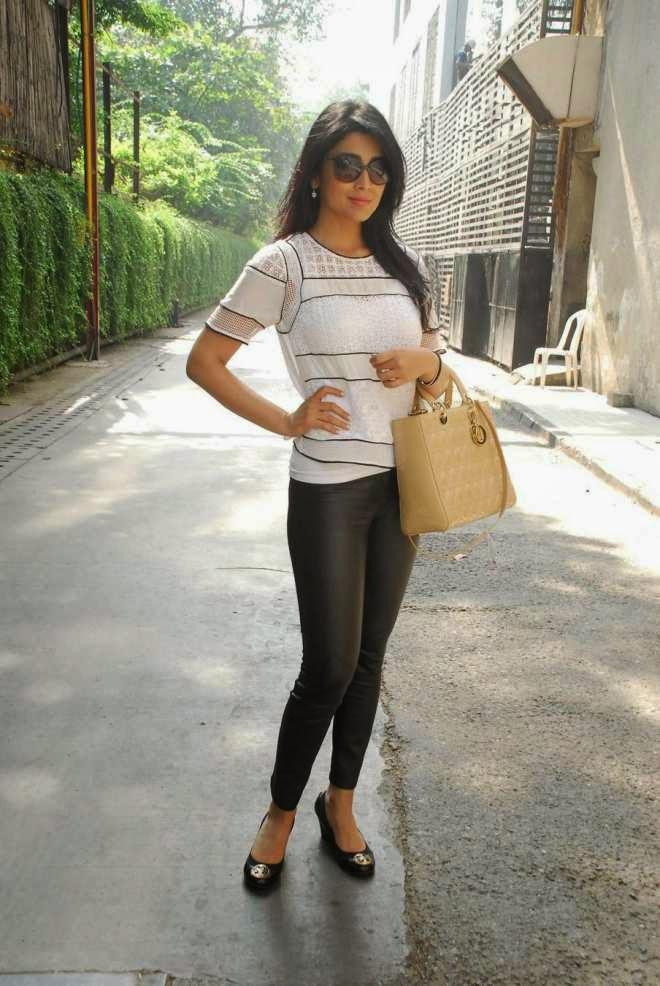 shriya saran latest photos in white top