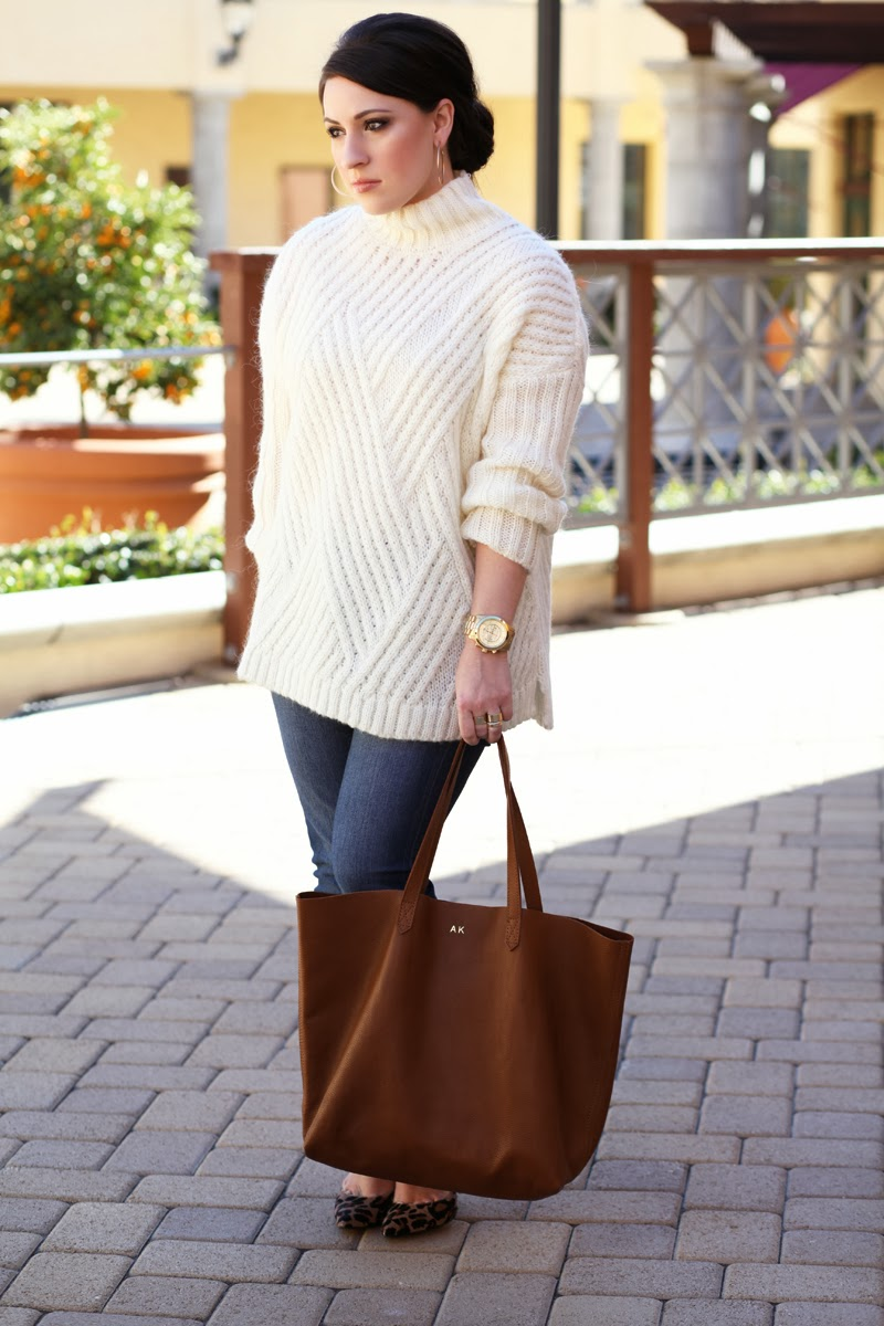 cuyana-monogrammed-tote-brown-leather-leopard-calf-hair-pumps-nine-west-white-oversized-sweater-mango-michael-kors-watch-loft-petite-denim-san-diego-fashion-blogger-king-and-kind