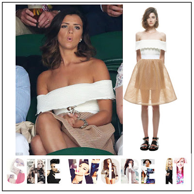 Back Detail, Beige, Dress, Elasticated Waist, Exposed Zip, Full Skirt, Gold, Lucy Mecklenburgh, Mesh, Off Shoulder, Self-Portrait, Sheer, Trim Detail, Underlay, White, wimbledon