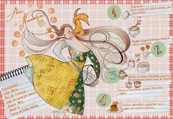 receta ilustrada - flan de naranjas
