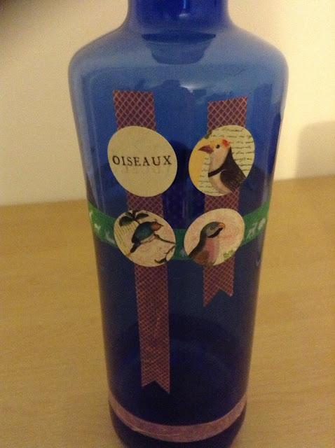 Botella decorada con washi tape