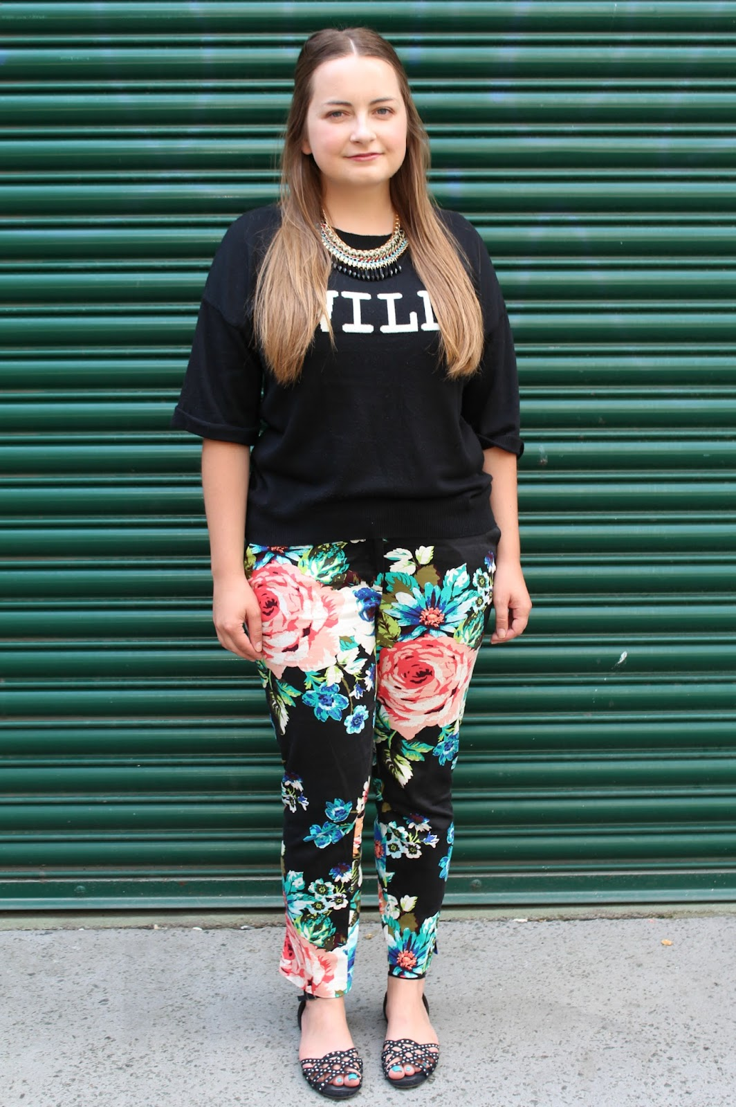 WHAT I WORE TODAY: floral trousers, WIWT, WHAT I WORE TODAY, H and M, floral, trousers, top, ASOS, necklace, Primark, shoes,