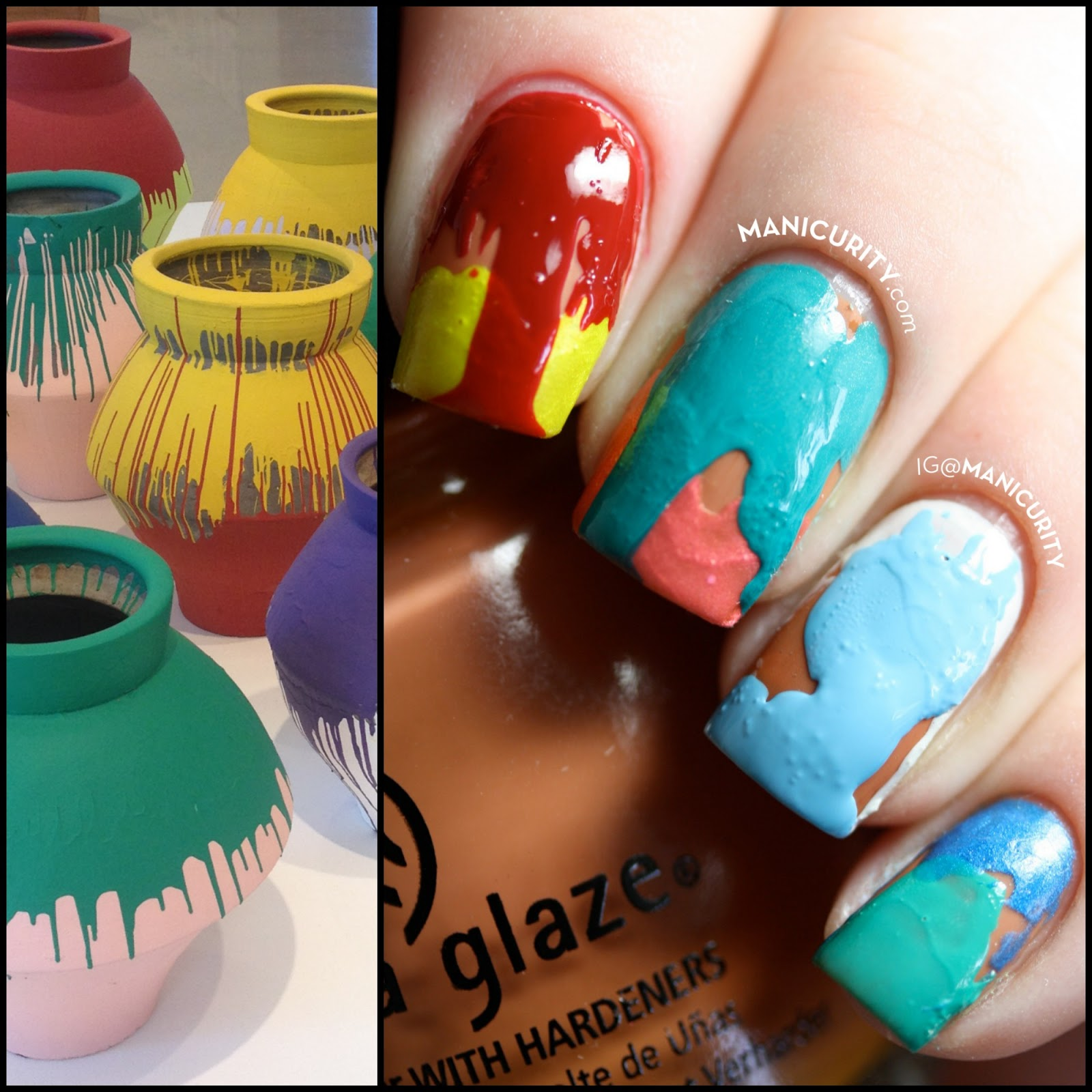 Manicurity | Ai Weiwei Colored Vases inspired Double Drip Nails - messy, drippy, art-inspired nail art