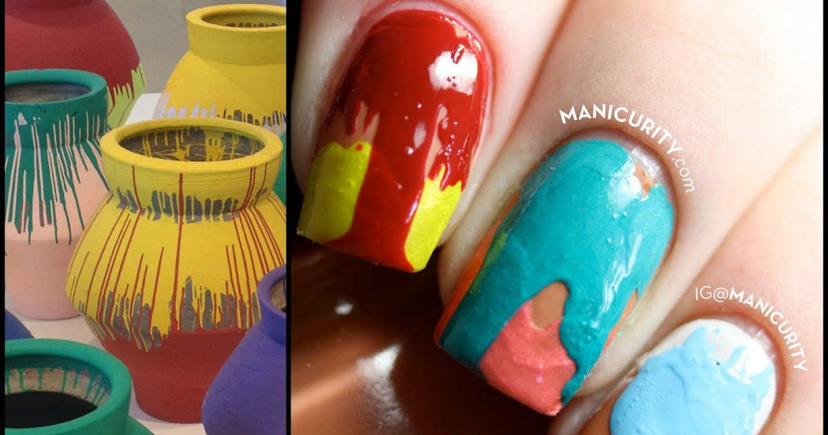 Manicurity Ai Weiwei Colored Vases Inspired Double Drip Nails