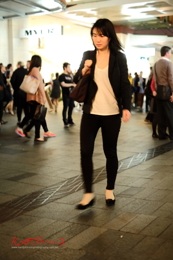 Black pants pumps and jacket, white tee shirt, walking through the mall - VFNO 2013 Pitt Street Mall - VOGUE Fashion Night Out Sydney