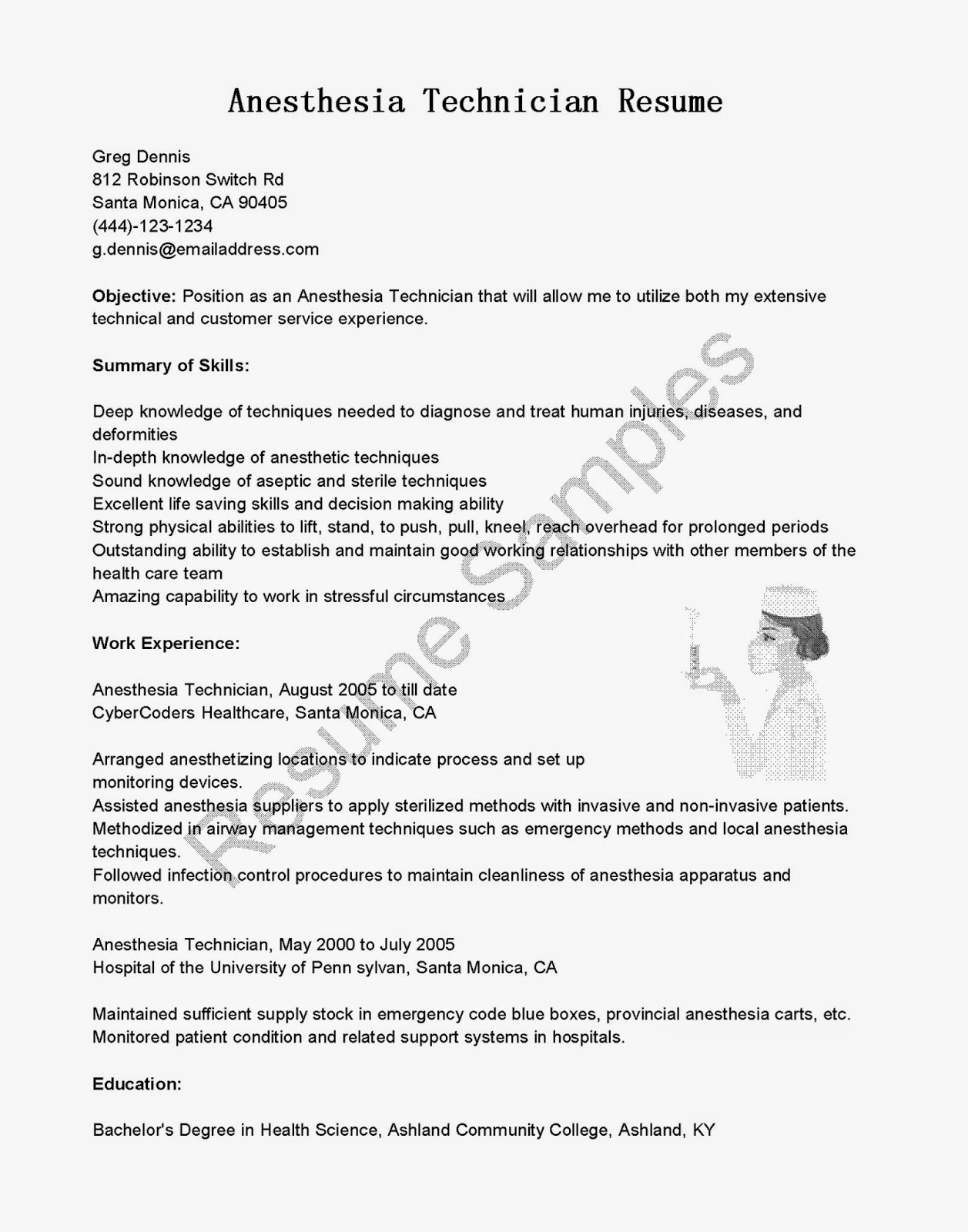 Resume Samples Anesthesia Technician Resume Sample