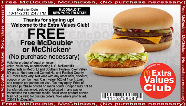 McDonald's is offering a free big mac once a month for a year when you purchase a $50 Arch card in-stores. Note: This offer is not advertised on their website but it is advertised in select restaurants.
