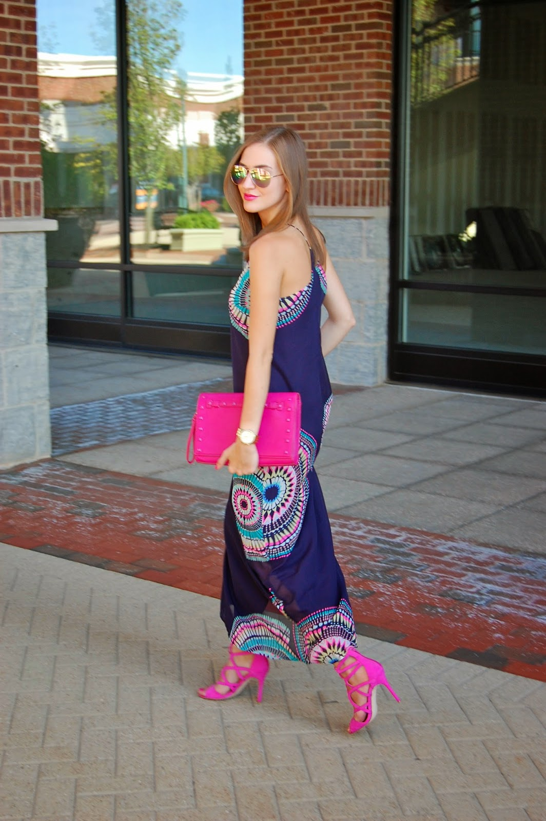 Wearing Old Navy Navy Blue Women's Sunburst Chiffon Maxi Dress, Neiman Marcus Pink Studded Tonal Clutch, Wearing Just Fab Emmey Violet Lace Up Heels, Summer 2014 Dress Looks