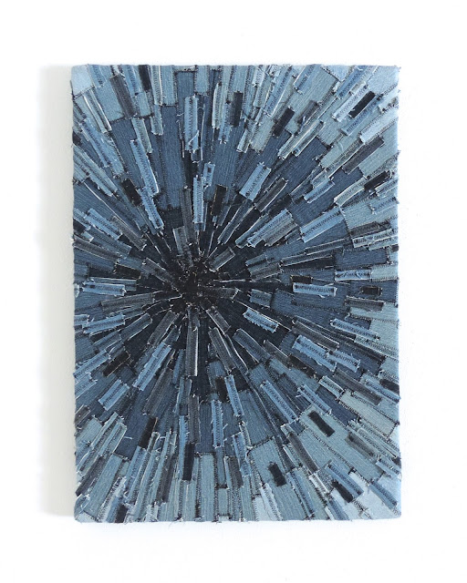 Recycled Denim Sunburst Textile Art