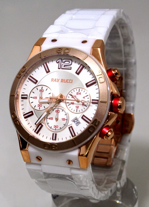 ray rucci 378 rose gold ceramic  male-female 43 mm