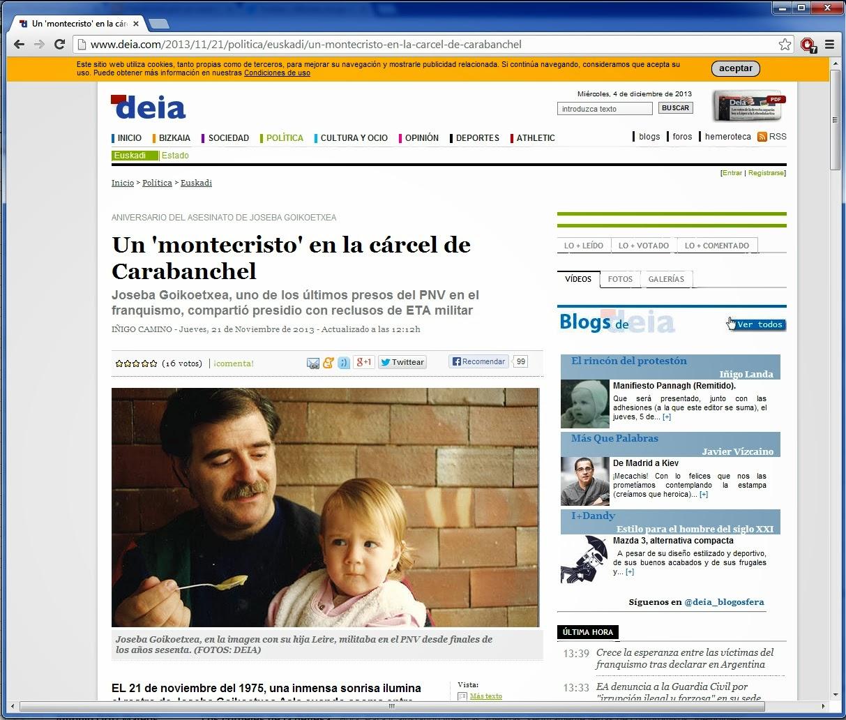 """21/11/2013: Un """"Montecristo"""" en la cárcel de Carabanchel"""
