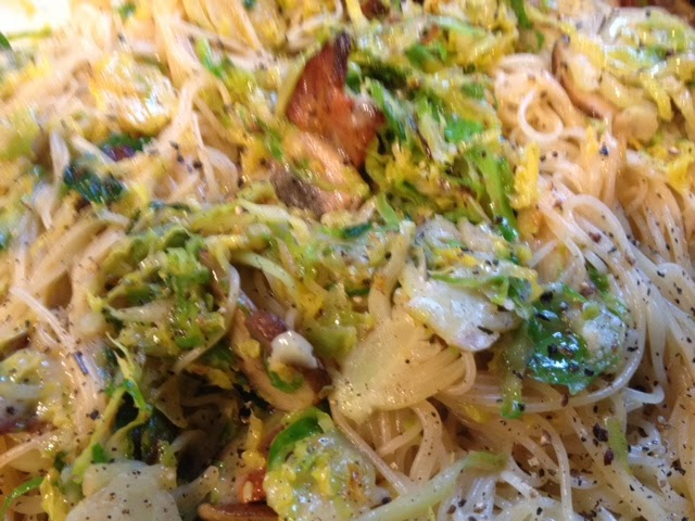 Angel Hair With Bacon Brussels Sprouts And Mushrooms More Is Better