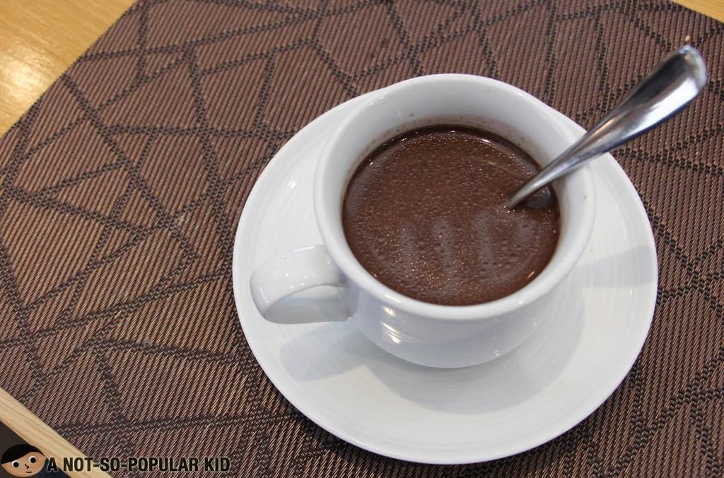 Warm and semi-sweet batirol chocolate drink of F1 Hotel Manila