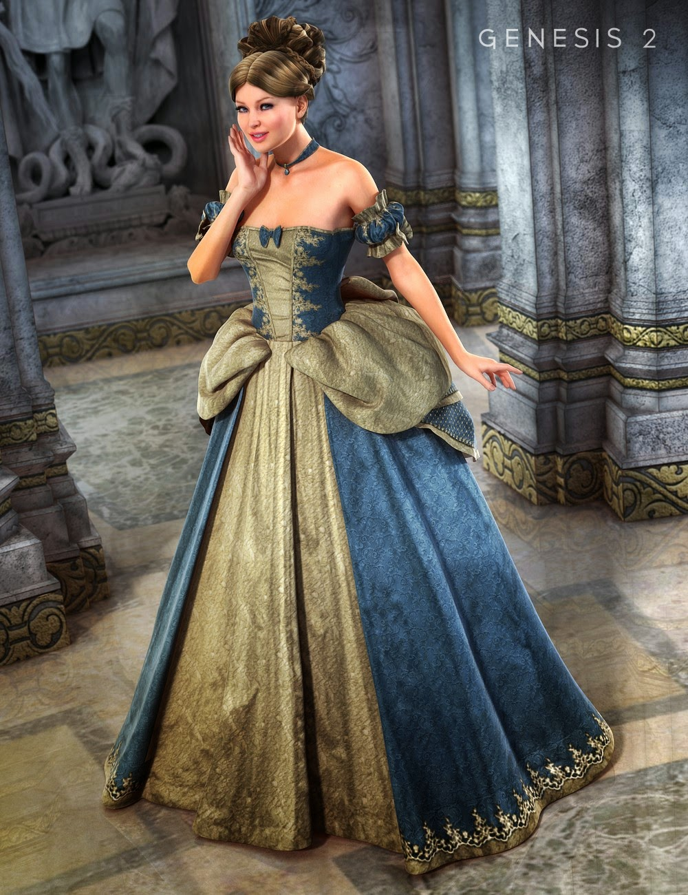Cinderella Ball Gown for Genesis 2 Female