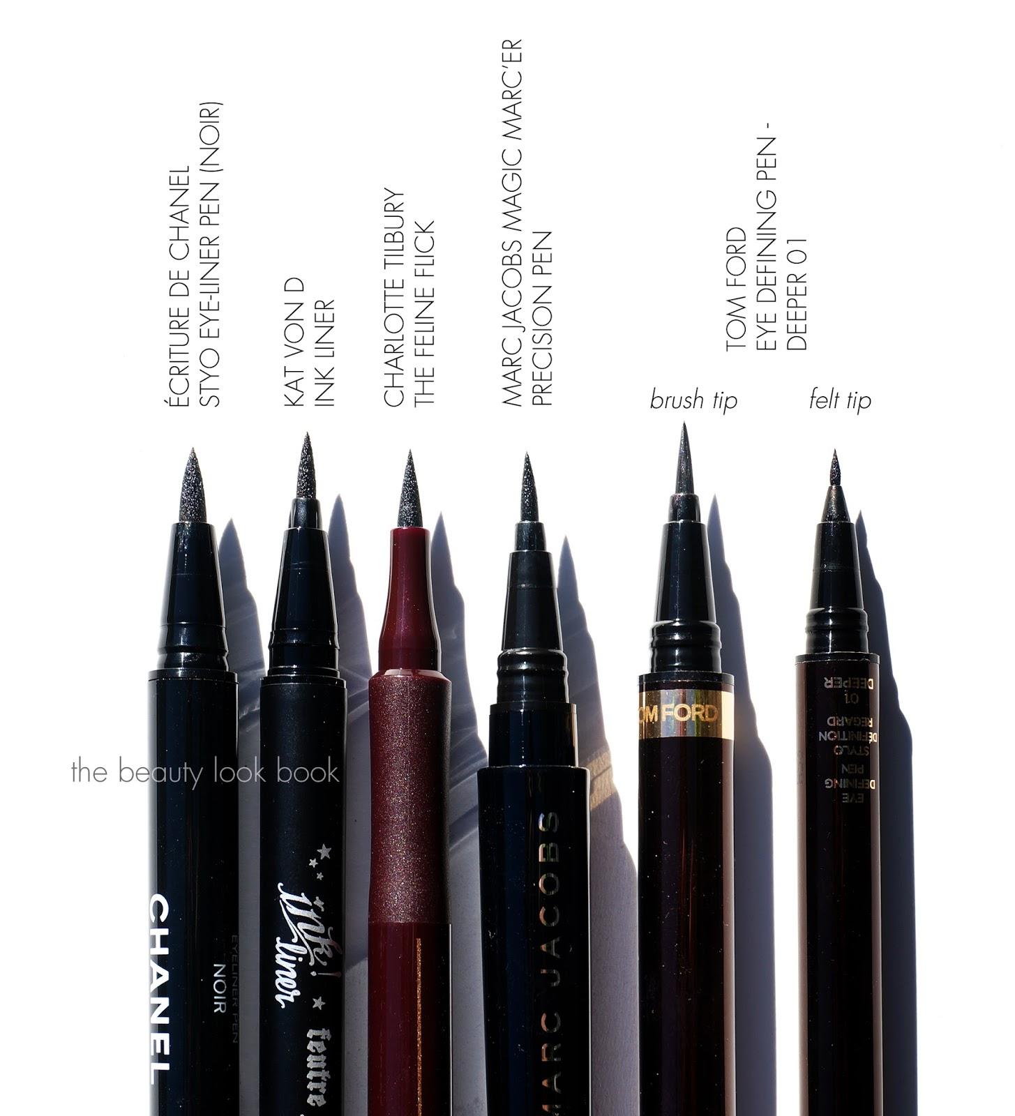liquid eyeliner brush. liquid eye liners | chanel, kat von d, marc jacobs beauty, charlotte tilbury and tom ford eyeliner brush e