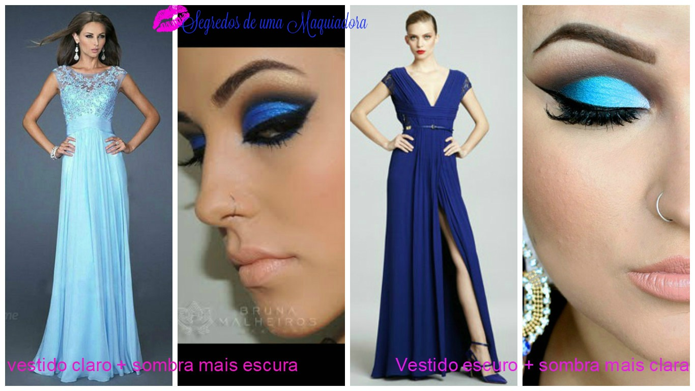 Maquiagem para vestido azul e verde
