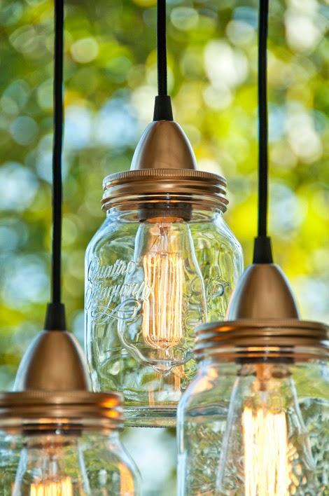 conso re cr ative cr er un luminaire r cup 39 avec des pots en verre. Black Bedroom Furniture Sets. Home Design Ideas