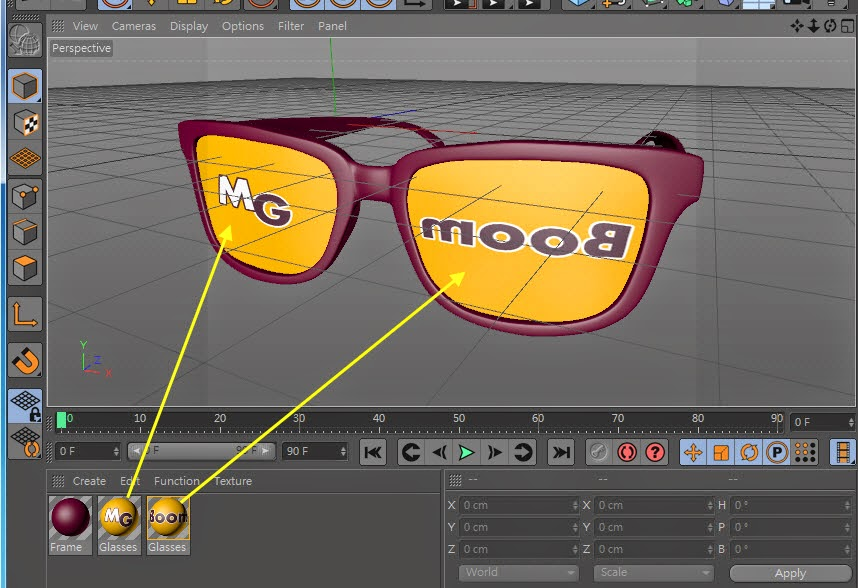 Texture + Render Retro plastic glasses in C4D  06