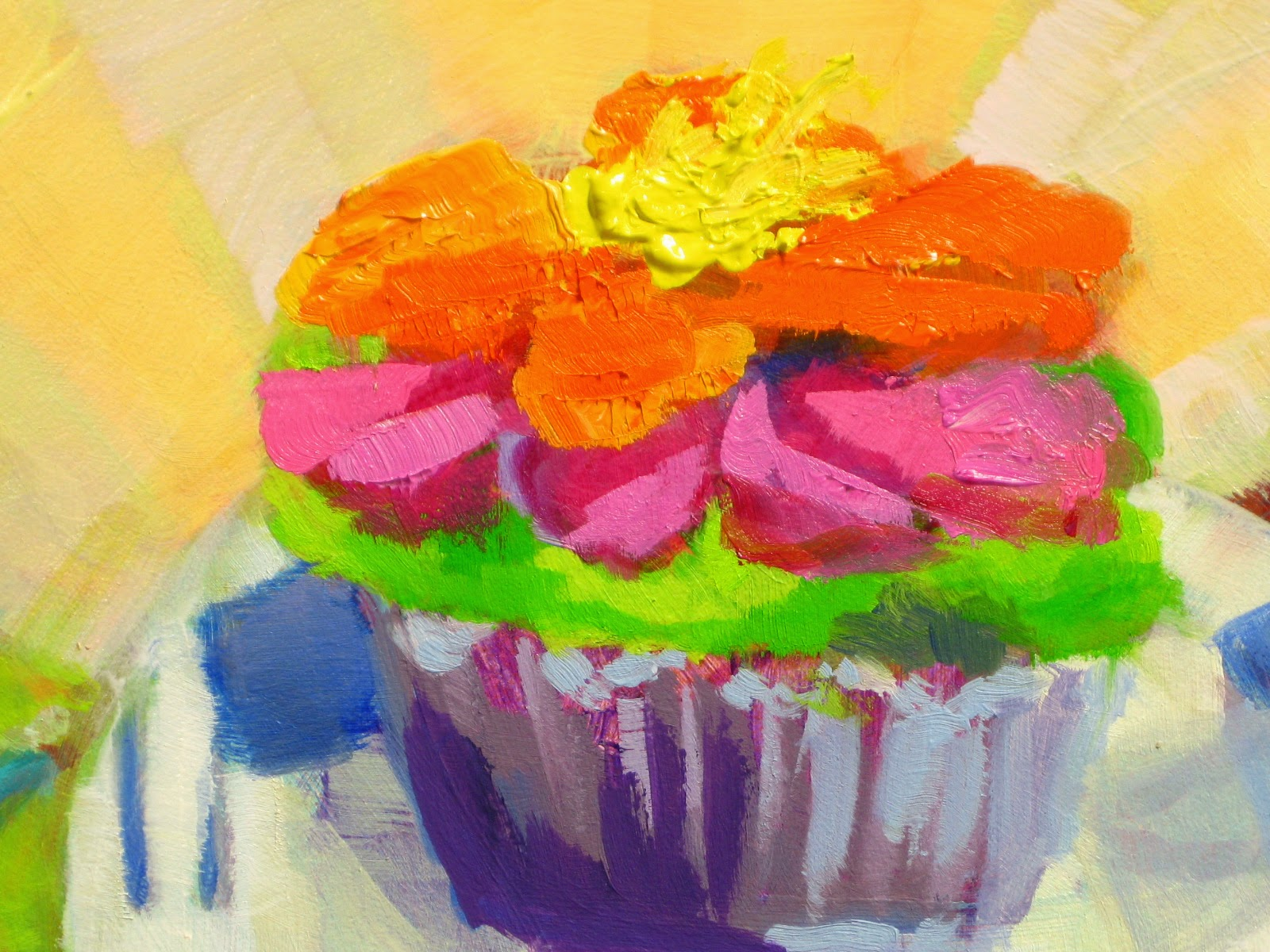 closeup of main part of cupcake oil painting by Joan Terrell