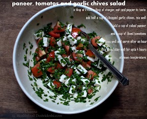picture recipe : paneer, tomato and garlic chives salad