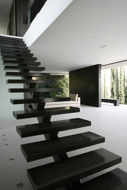 Picture of black minimalist staircase without the railing