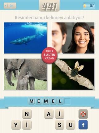 Resimli+Kelime+Bulmaca+çözümleri Balina Gülen kadın Fil yarasa