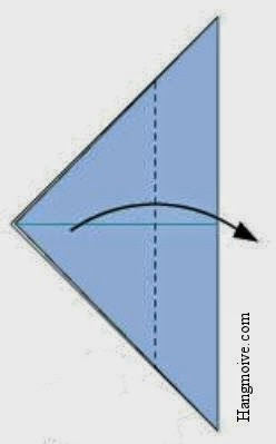 Tạo một đường thẳng (chia tờ giấy tam giác 3 phần).Gấp phần đỉnh tam giác về một phía đáy tam giác như hình vẽ.