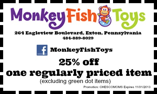 Monkey fish toys exclusive chester county moms 25 off coupon for Monkey fish toys