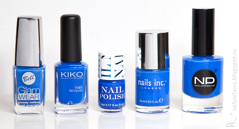 Bell Glam Wear #411, Kiko #336 Blue Elattrico, H&M Blue Me, Nails inc. Baker Street, Nano Professional #1110.