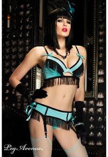 Lingerie Burlesque à franges Jolie Lady turquoise