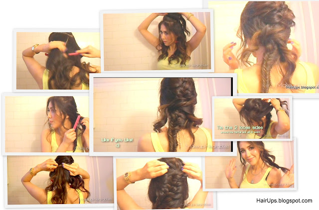 How to Fishtail Braid - herringbone -  fishbone braid on long hair