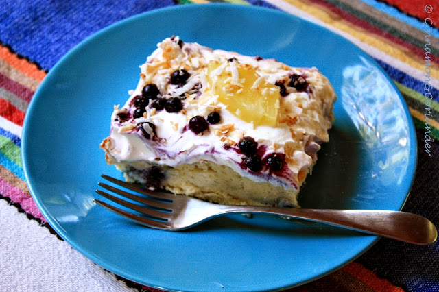 Blueberry Colada Tres Leches Cake