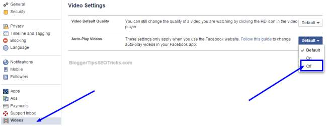 how to stop Facebook videos auto play feature